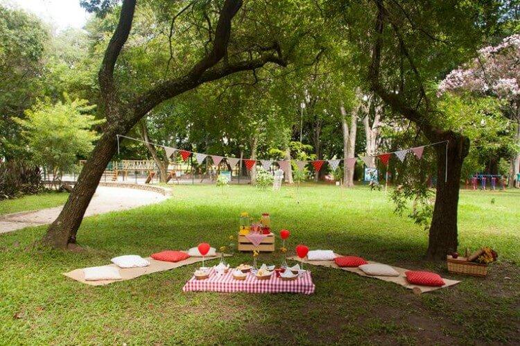 Na imagem, ambiente aberto com árvores e gramado decorados para uma festa de aniversário