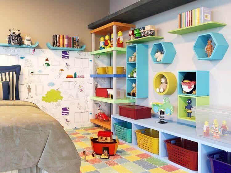 Organizar brinquedos no quarto de criança